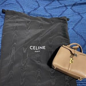 Celine tan leather medium 16 satchel